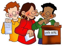 Cartoon Image of Three Youths Voting