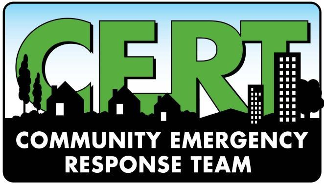 CERT Logo - rectangle w/ black shadow of ground and houses, CERT in green, blue and white background