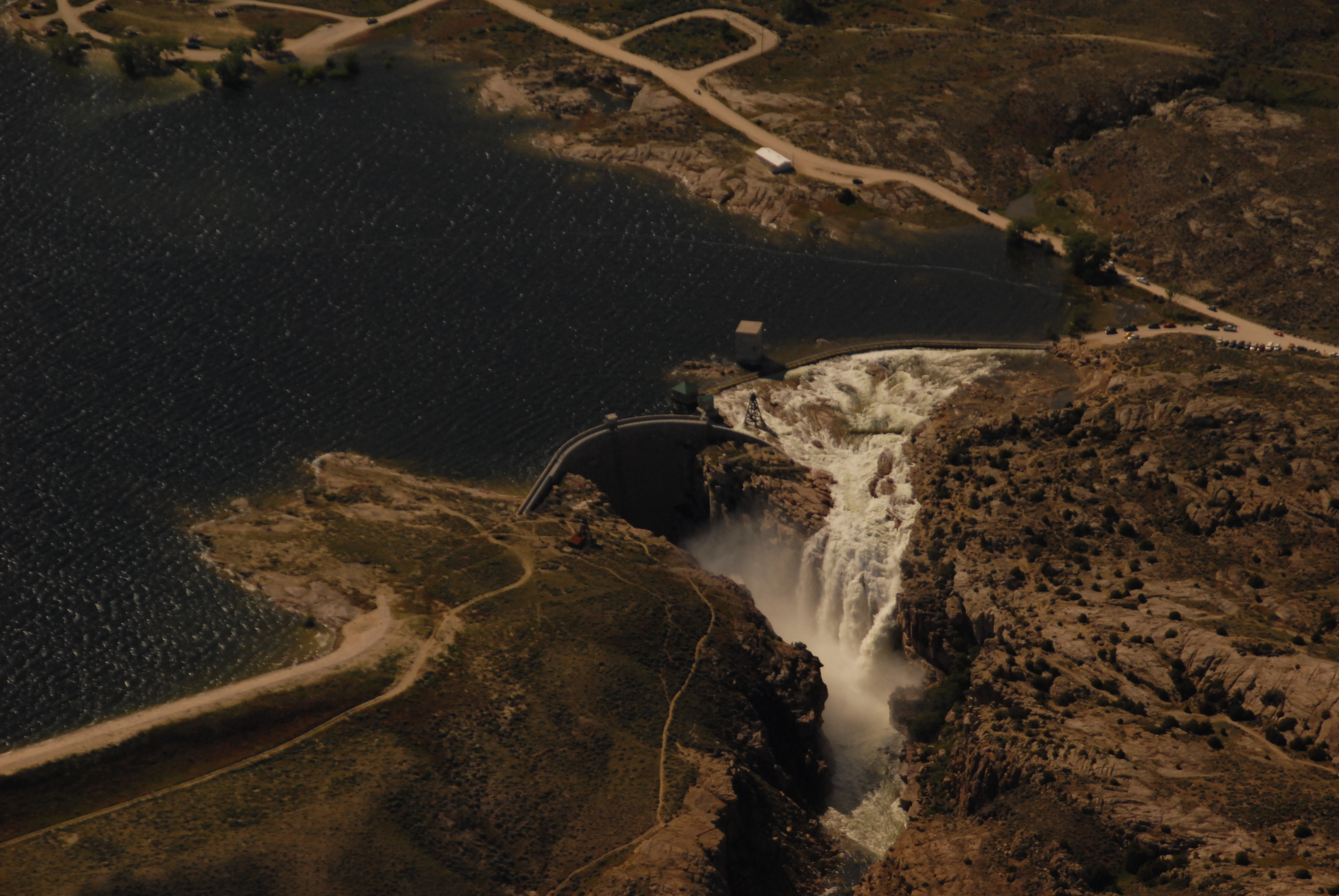 Water rushing over Pathfinder dam and spillway